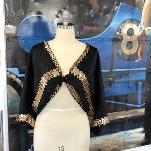 Sweaters - Black and gold sequin cocoon style shrug plus size